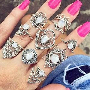 Silver BOHO Opal Women's Ring Jewlery Set